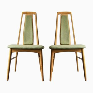 Vintage Oak Eva Chairs by Niels Koefoed, Set of 2