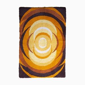 Tappeto Space Age con cerchi arancioni, anni '70