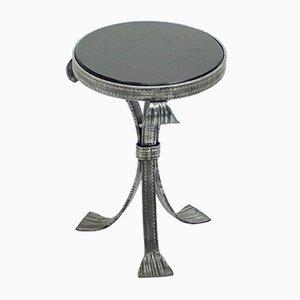 Art Deco Tisch aus gehämmertem Stahl & Holzplatte, 1940er