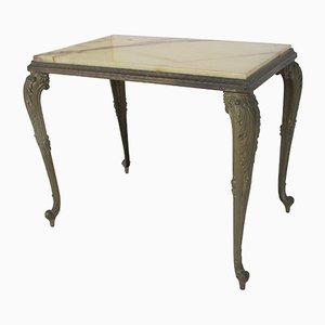 Tavolino Regency vintage in marmo e ottone, anni '50