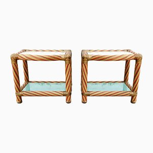 Vintage Rattan Nightstands by Alberto Smania for Studio Interni Smania, 1970s, Set of 2