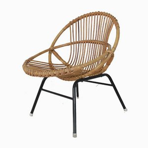 Vintage Rattan and Steel Lounge Chair from Rohé Noordwolde, 1950s