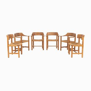 Pinewood and Paper Cord Dining Chairs by Rainer Daumiller, 1970s, Set of 6