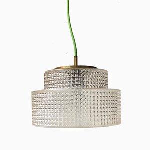 Dänische Mid-Century Deckenlampe aus Glas & Messing von Vitrika, 1960er