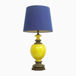 Grande Lampe de Bureau ou Lampadaire en Céramique et en Tissu, Italie, 1970s