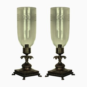 Bronze and Glass Table Lamps, 1930s, Set of 2