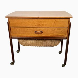 Mid-Century Teak Sewing Box with Basket, Denmark, 1950s