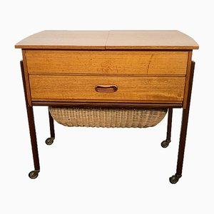 Mid-Century Teak Sewing Box with Basket, Denmark, 1950s