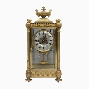 Napoleon III French Brass and Glass Mantel Clock from Vincenti, 1860s