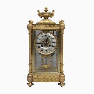 Reloj de repisa francés Napoleon III de latón y vidrio de Vincenti, década de 1860