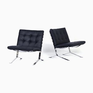 Black Leather Joker Lounge Chairs by Olivier Mourgue for Airborne, 1960s, Set of 2