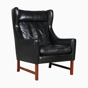 Rosewood and Leather Wingback Chair by Fredrik A. Kayser, Norway, 1960s