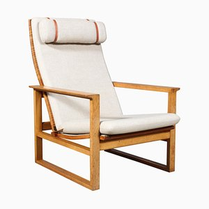 Oak 2254 Sled Lounge Chair in Cane by Børge Mogensen, Denmark, 1956