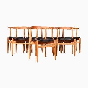 Chaises de Salon Modèle 1936 en Cuir Noir par Hans J. Wegner pour Fritz Hansen, 1960s, Set de 8