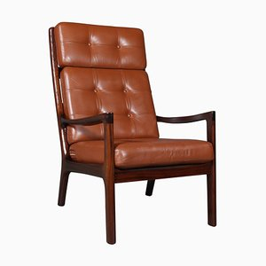 Mahogany and Leather Lounge Chair by Ole Wanscher for Cado