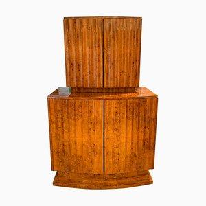 Mueble bar Art Déco de chapa de fresno de Secure & Lever, años 30
