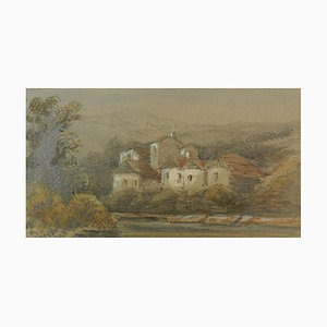 19th Century Landscape Paintings Miniatures by Felix Thoriguy, Set of 2