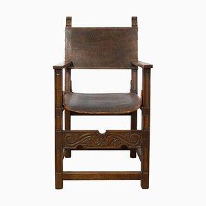Antiker spanischer Armlehnstuhl aus Leder & Leder