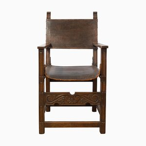 Antique Spanish Leather and Oak Armchair