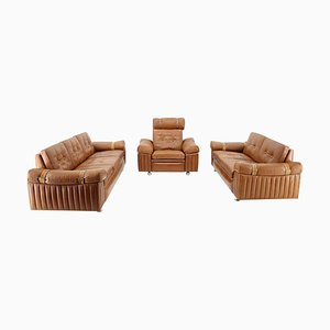 Living Room Set in Cognac Leather, 1970s, Set of 3