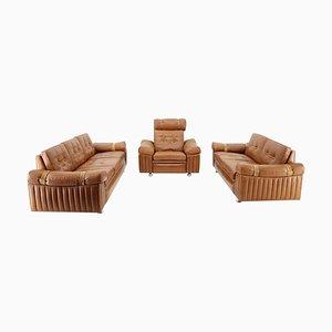 Wohnzimmer Set aus cognacfarbenem Leder, 1970er, 3er Set