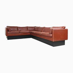 Mid-Century Danish Leather Corner Sofa