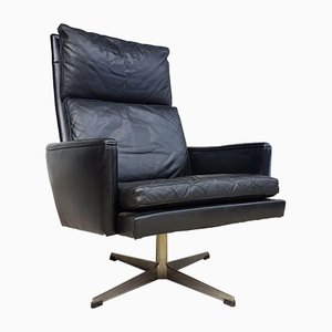 Mid-Century Danish Leather Swivel Armchair