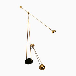 Gold-Plated Halogen Floor & Table Lamp by Paolo Piva for Stephano Cevoli, Italy, 1980s, Set of 2