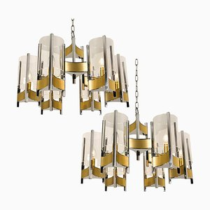 Chrome and Glass Chandeliers by Gaetano Sciolari, 1960s, Set of 2