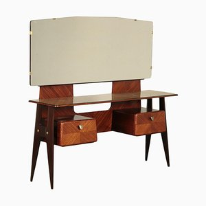 Ebonized Beech Back-Treated Glass Dressing Table, Italy, 1950s