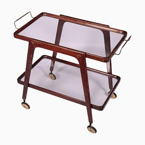 Stained Wood and Glass Service Trolley, Italy, 1950s