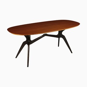 Teak Veneer and Ebony Wood Table, Italy, 1950s