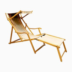 Vintage Multi Stripe Folding Beach Pool Recliner Chair, 1950s