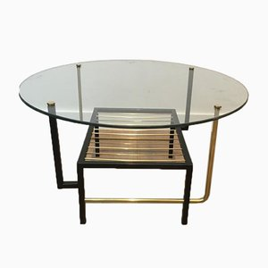 French Black Lacquered and Brass Round Coffee Table with Glass Top Attributed to Mathieu Matégot, 1950s