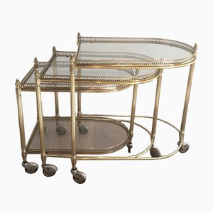 French Brass Nesting Drinks Trolleys with Removable Trays by Maison Bagués, 1940s, Set of 3