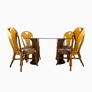 Tavolo da pranzo Mid-Century con sedie in vimini, anni '80, set di 5