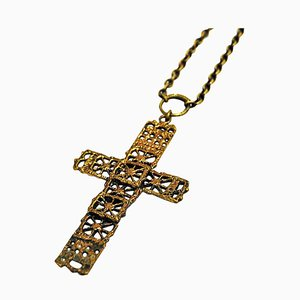 Bronze Cross Necklace by Pentti Sarpaneeva, Finland, 1970s