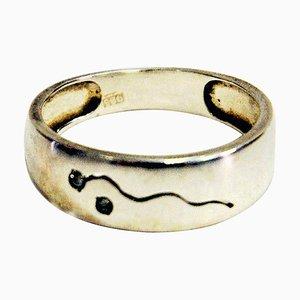 Silberner skandinavischer Ring mit kleinen klaren Steinen, 1960er
