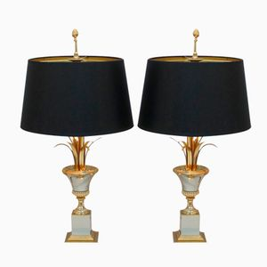 Lampes Vintage en Métal Doré et en Acier de Maison Charles, Set de 2