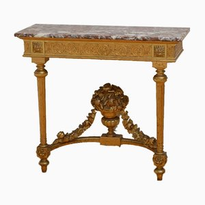 Table Console Antique en Bois Doré