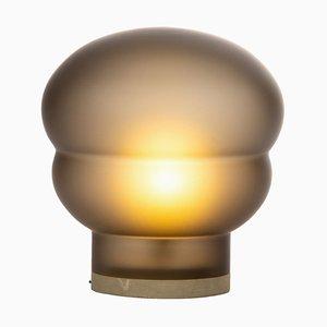 Mittelgroße Kumo Lampe aus rauchgrauem Acetato mit taupefarbenem Sockel