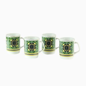 Czechoslovakian Porcelain Mugs, 1960s, Set of 4