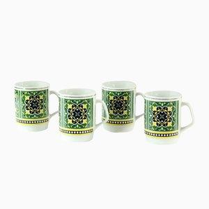 Tschechoslowakische Porzellan Tassen, 1960er, 4er Set