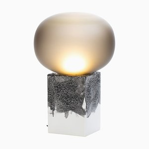Magma One Low Lamp in Smoky Grey Acetato with White Base by Ferréol Babin