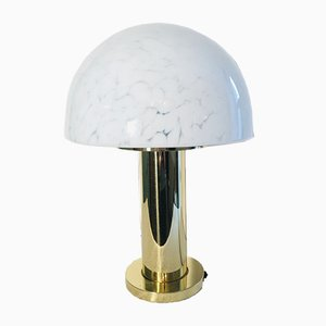 Lampe de Bureau Mushroom Mid-Century en Métal et Verre de Limburg