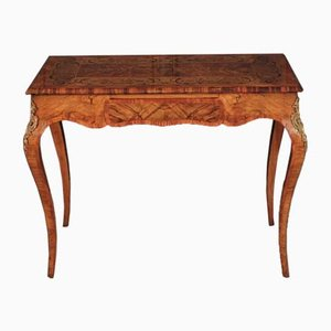 Antique Walnut Marquetry Inlaid Side Table
