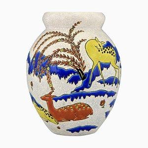 Art Deco Ceramic Vase by Thérèse Hummel for Boch Frères, 1920s