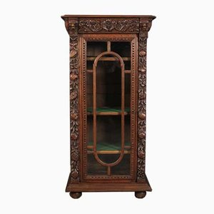 Antique Carved Oak Glazed Cabinet