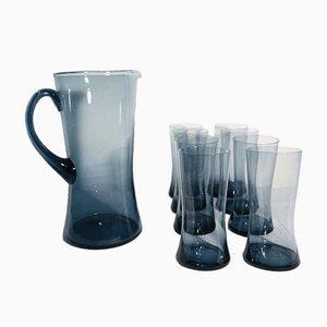 Mid-Century Scandinavian Blue Glass Juice Set, 1960s