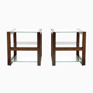 Italian Nightstands with Glass Tops, 1960s, Set of 2